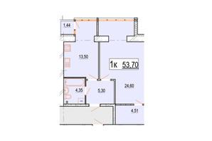 ЖК Перлина Поділля: планування 1-кімнатної квартири 53.7 м²