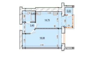ЖК Перлина Поділля: планування 1-кімнатної квартири 40.47 м²