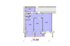 ЖК Перлина Поділля: планування 2-кімнатної квартири 70.69 м²