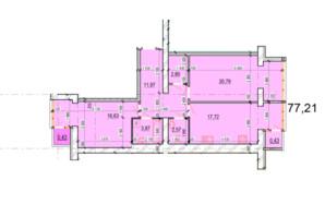 ЖК Перлина Поділля: планування 2-кімнатної квартири 77.21 м²