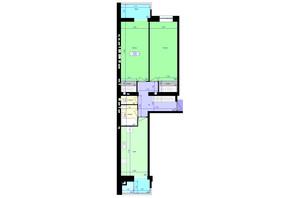 ЖК Перлини Кобрутівки: планування 2-кімнатної квартири 79.54 м²