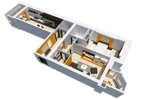 ЖК Перлини Кобрутівки: планування 2-кімнатної квартири 88.7 м²