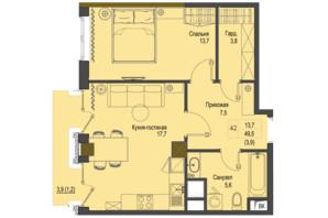 ЖК Перший Французький: планування 1-кімнатної квартири 49.5 м²