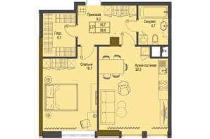 ЖК Перший Французький: планування 1-кімнатної квартири 58.6 м²