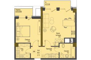 ЖК Перший Французький: планування 1-кімнатної квартири 58.3 м²