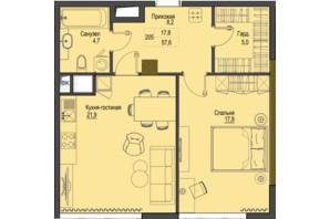 ЖК Перший Французький: планування 1-кімнатної квартири 57.6 м²