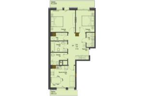 ЖК Перший Французький: планування 2-кімнатної квартири 73.6 м²