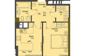 ЖК Перший Французький: планування 1-кімнатної квартири 38.8 м²