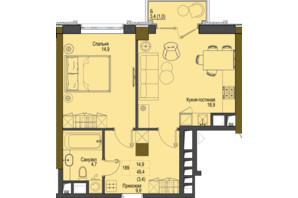 ЖК Перший Французький: планування 1-кімнатної квартири 49.4 м²