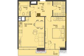 ЖК Перший Французький: планування 1-кімнатної квартири 59.5 м²