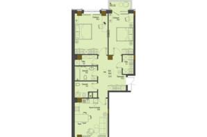 ЖК Перший Французький: планування 2-кімнатної квартири 85.2 м²