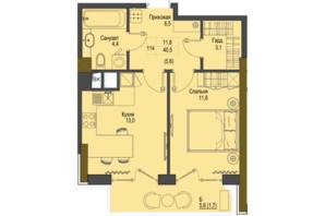 ЖК Перший Французький: планування 1-кімнатної квартири 40.5 м²