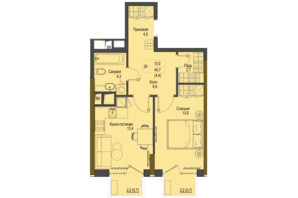 ЖК Перший Французький: планування 1-кімнатної квартири 45.7 м²