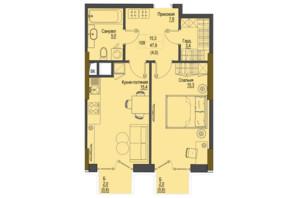 ЖК Перший Французький: планування 1-кімнатної квартири 47.9 м²