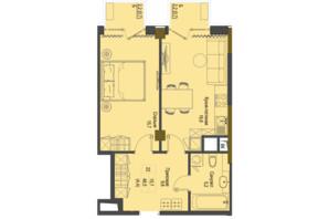 ЖК Перший Французький: планування 1-кімнатної квартири 48.5 м²