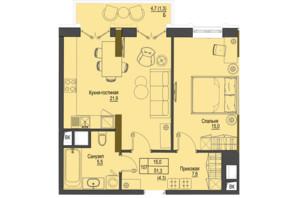 ЖК Перший Французький: планування 1-кімнатної квартири 51.3 м²