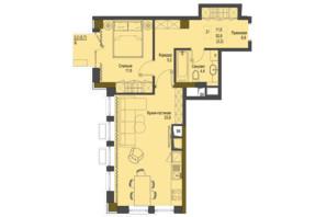 ЖК Перший Французький: планування 1-кімнатної квартири 52.6 м²