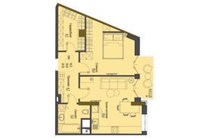 ЖК Перший Французький: планування 1-кімнатної квартири 55.8 м²