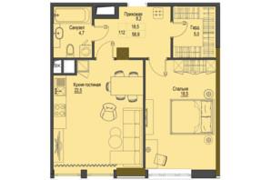 ЖК Перший Французький: планування 1-кімнатної квартири 58.9 м²