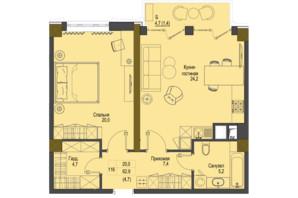 ЖК Перший Французький: планування 1-кімнатної квартири 62.9 м²