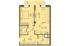 ЖК Перший Французький: планування 1-кімнатної квартири 65.3 м²