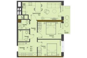 ЖК Перший Французький: планування 2-кімнатної квартири 62.4 м²