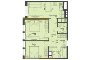 ЖК Перший Французький: планування 2-кімнатної квартири 63.9 м²