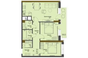 ЖК Перший Французький: планування 2-кімнатної квартири 66.1 м²