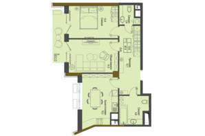 ЖК Перший Французький: планування 2-кімнатної квартири 67.9 м²