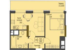 ЖК Перший Французький: планування 1-кімнатної квартири 39.9 м²