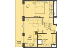 ЖК Перший Французький: планування 1-кімнатної квартири 40.2 м²