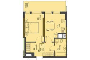 ЖК Перший Французький: планування 1-кімнатної квартири 40.3 м²