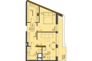 ЖК Перший Французький: планування 1-кімнатної квартири 47.15 м²