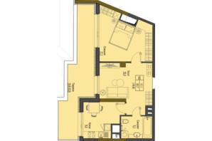 ЖК Перший Французький: планування 1-кімнатної квартири 49.8 м²
