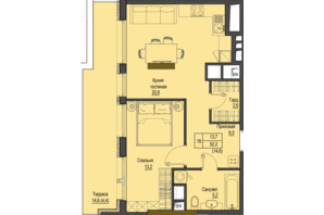ЖК Перший Французький: планування 1-кімнатної квартири 52.2 м²
