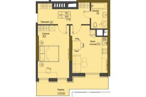 ЖК Перший Французький: планування 1-кімнатної квартири 54.6 м²