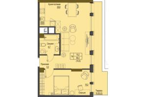 ЖК Перший Французький: планування 1-кімнатної квартири 56.2 м²