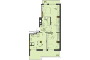 ЖК Перший Французький: планування 2-кімнатної квартири 74.2 м²