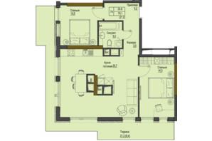 ЖК Перший Французький: планування 2-кімнатної квартири 79.1 м²