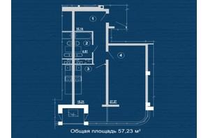 ЖК PesochinSky: планировка 1-комнатной квартиры 57.23 м²
