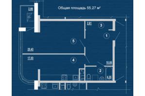 ЖК PesochinSky: планировка 1-комнатной квартиры 55.27 м²