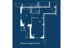 ЖК PesochinSky: планировка 1-комнатной квартиры 49.43 м²
