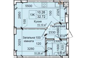 ЖК Петрівський квартал: планування 1-кімнатної квартири 32.72 м²