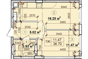 ЖК Петрівський квартал: планування 1-кімнатної квартири 36.7 м²