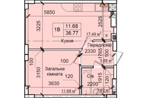 ЖК Петрівський квартал: планування 1-кімнатної квартири 36.77 м²
