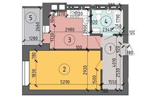 ЖК PetrovSky: планировка 1-комнатной квартиры 36.8 м²