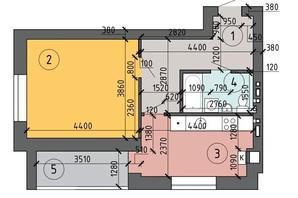 ЖК PetrovSky: планировка 1-комнатной квартиры 45.2 м²