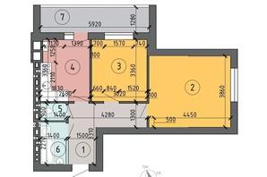 ЖК PetrovSky: планировка 2-комнатной квартиры 57.2 м²