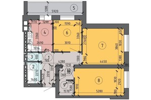 ЖК PetrovSky: планировка 3-комнатной квартиры 72.6 м²
