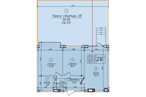 ЖК Петровский квартал: планировка 2-комнатной квартиры 71.57 м²